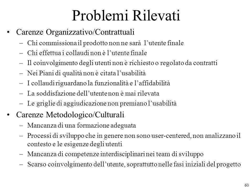 60 Problemi Rilevati Carenze Organizzativo/Contrattuali –Chi commissiona il prodotto non ne sarà lutente finale –Chi effettua i collaudi non è lutente