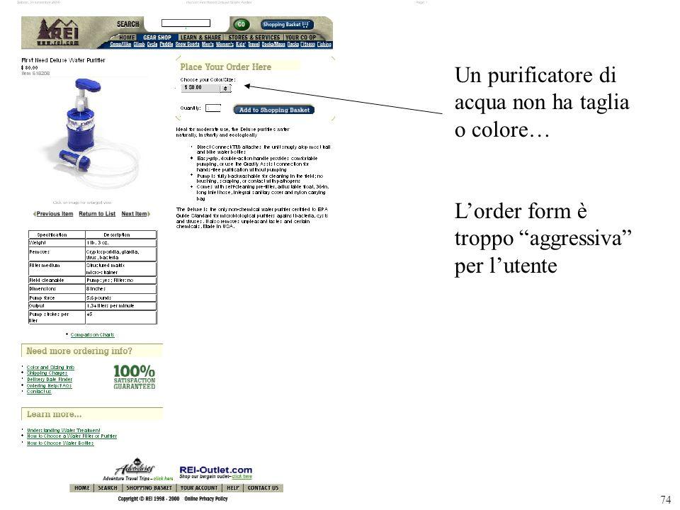 74 Un purificatore di acqua non ha taglia o colore… Lorder form è troppo aggressiva per lutente
