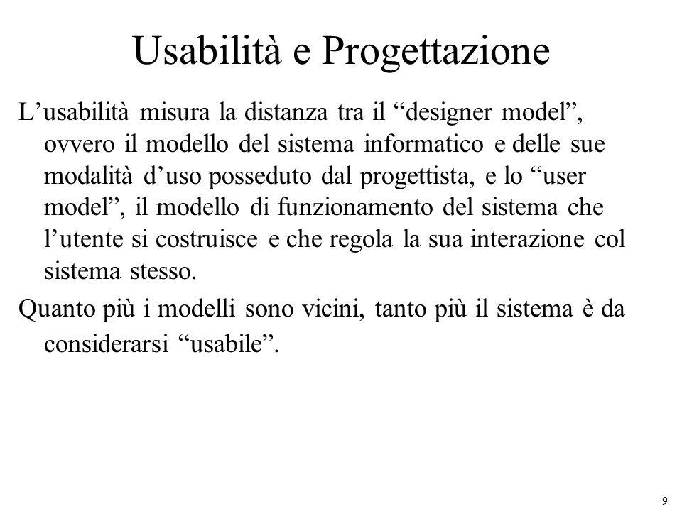 9 Usabilità e Progettazione Lusabilità misura la distanza tra il designer model, ovvero il modello del sistema informatico e delle sue modalità duso p