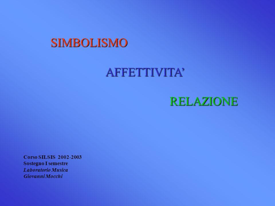 SIMBOLISMOAFFETTIVITA RELAZIONE RELAZIONE Corso SILSIS 2002-2003 Sostegno I semestre Laboratorio Musica Giovanni Mocchi