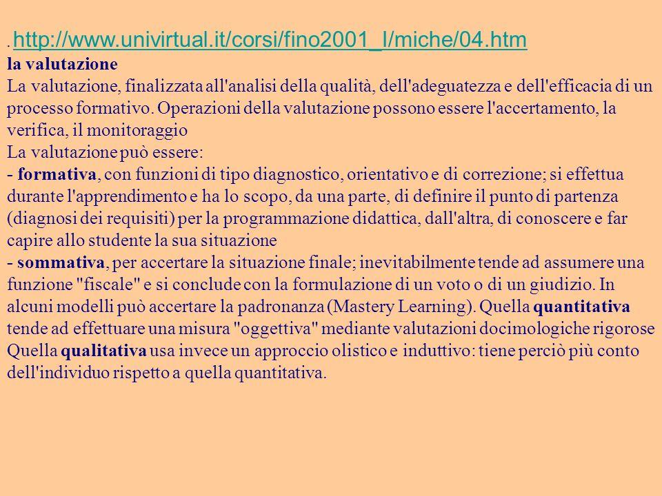. http://www.univirtual.it/corsi/fino2001_I/miche/04.htm http://www.univirtual.it/corsi/fino2001_I/miche/04.htm la valutazione La valutazione, finaliz