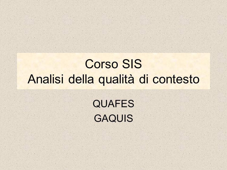 Corso SIS Analisi della qualità di contesto QUAFES GAQUIS