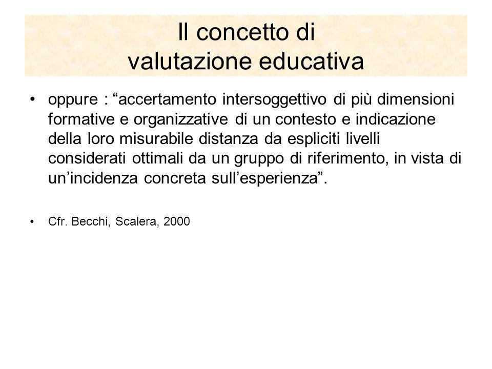 Il concetto di valutazione educativa oppure : accertamento intersoggettivo di più dimensioni formative e organizzative di un contesto e indicazione de