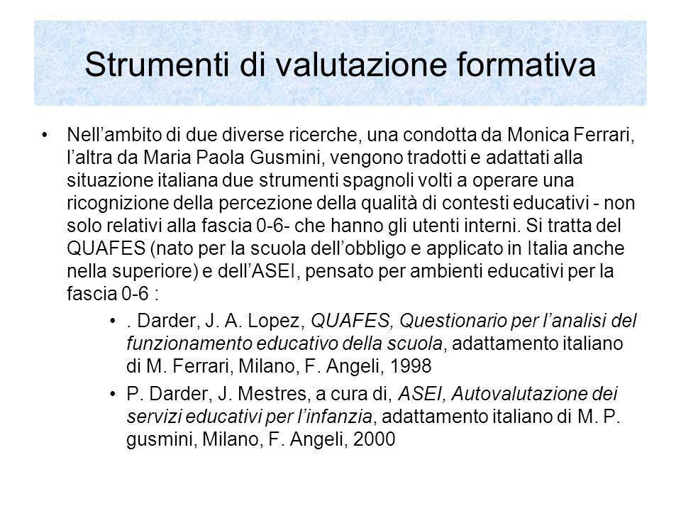 Strumenti di valutazione formativa Nellambito di due diverse ricerche, una condotta da Monica Ferrari, laltra da Maria Paola Gusmini, vengono tradotti