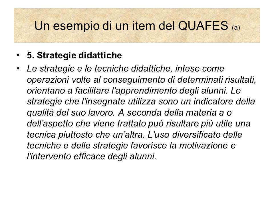 Un esempio di un item del QUAFES (a) 5. Strategie didattiche Le strategie e le tecniche didattiche, intese come operazioni volte al conseguimento di d