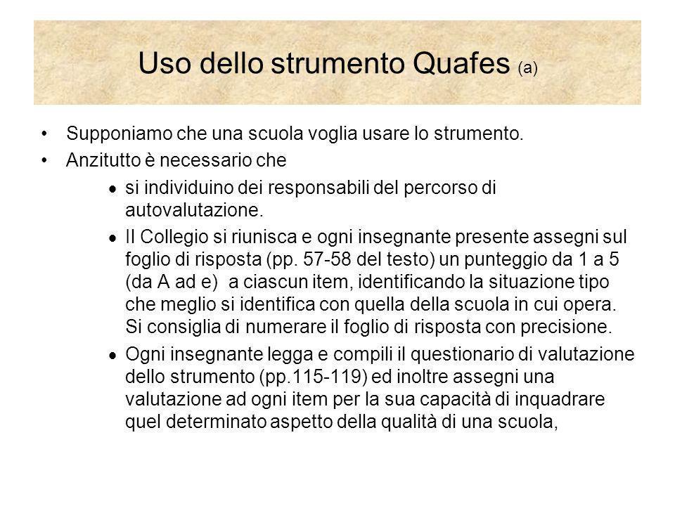 Uso dello strumento Quafes (a) Supponiamo che una scuola voglia usare lo strumento. Anzitutto è necessario che si individuino dei responsabili del per