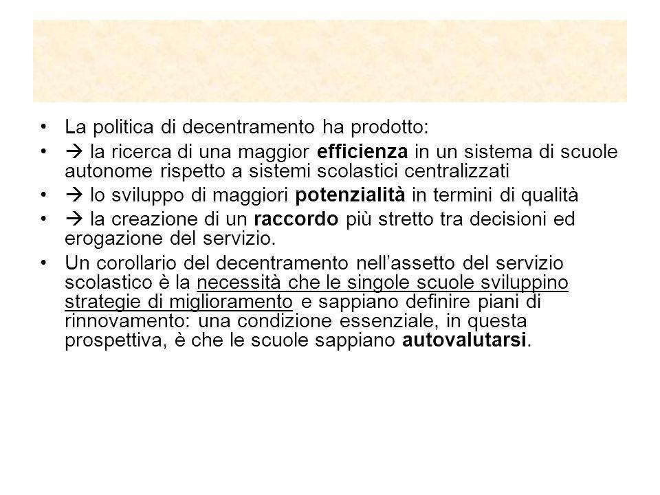 La qualità nella scuola 1997 il Governo istituisce la Commissione di studio per la creazione del Sistema Nazionale di Valutazione 1997 il M.