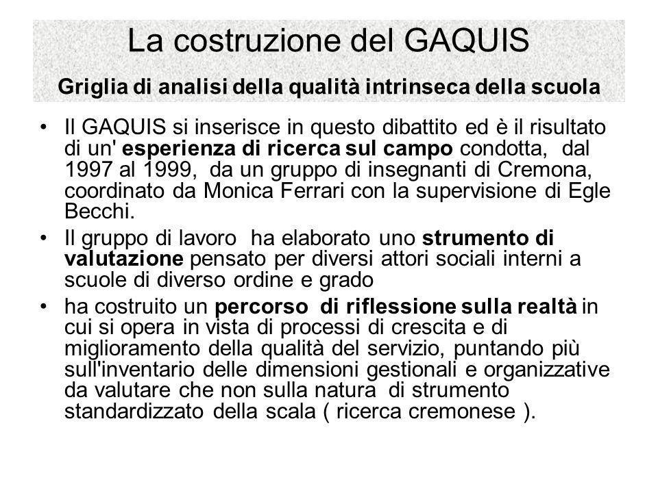 La costruzione del GAQUIS Griglia di analisi della qualità intrinseca della scuola Il GAQUIS si inserisce in questo dibattito ed è il risultato di un'