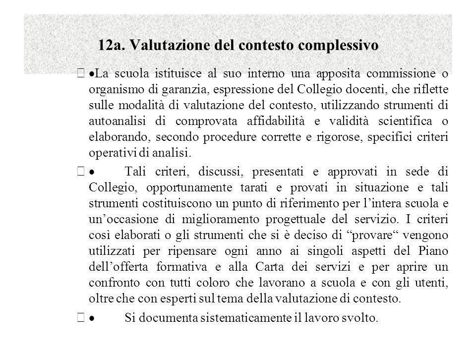 12a. Valutazione del contesto complessivo La scuola istituisce al suo interno una apposita commissione o organismo di garanzia, espressione del Colleg