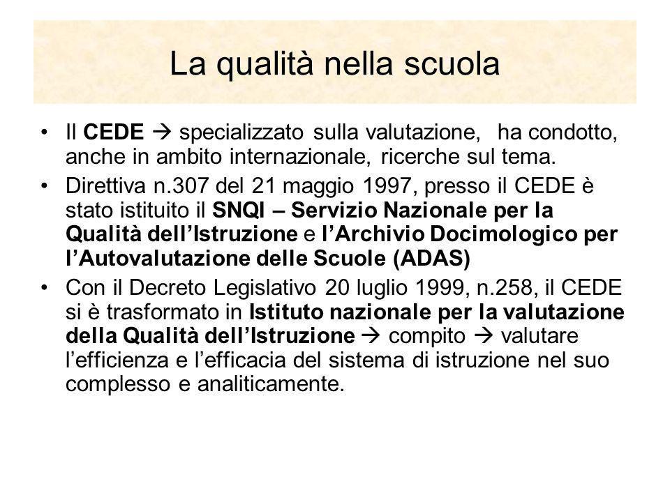 La qualità nella scuola Il CEDE specializzato sulla valutazione, ha condotto, anche in ambito internazionale, ricerche sul tema. Direttiva n.307 del 2