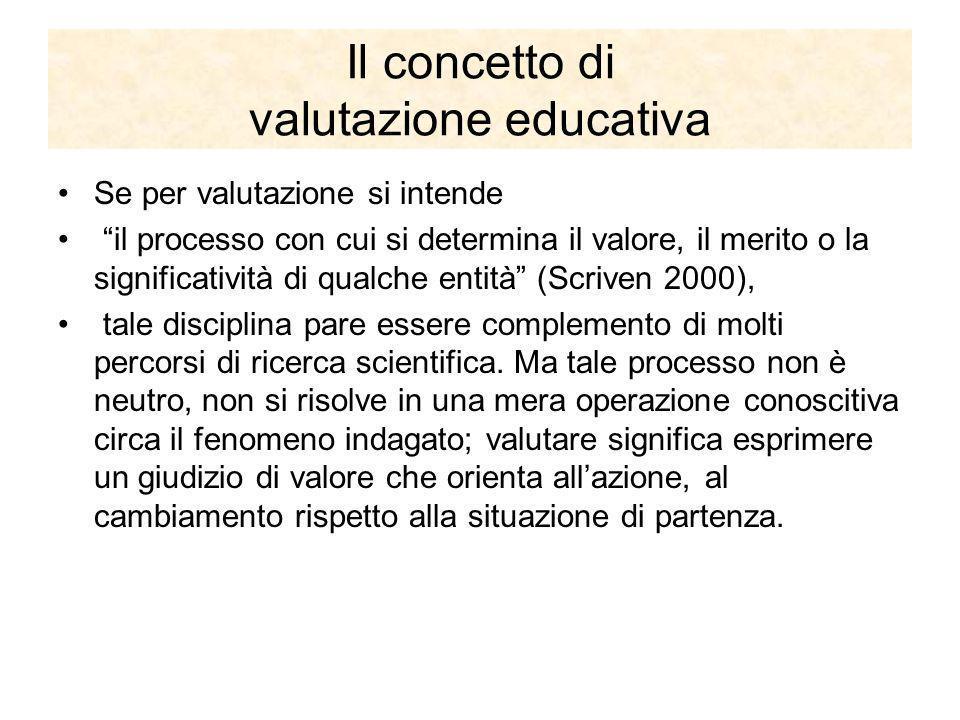 Il concetto di valutazione educativa Se per valutazione si intende il processo con cui si determina il valore, il merito o la significatività di qualc