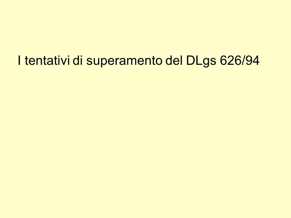 I tentativi di superamento del DLgs 626/94