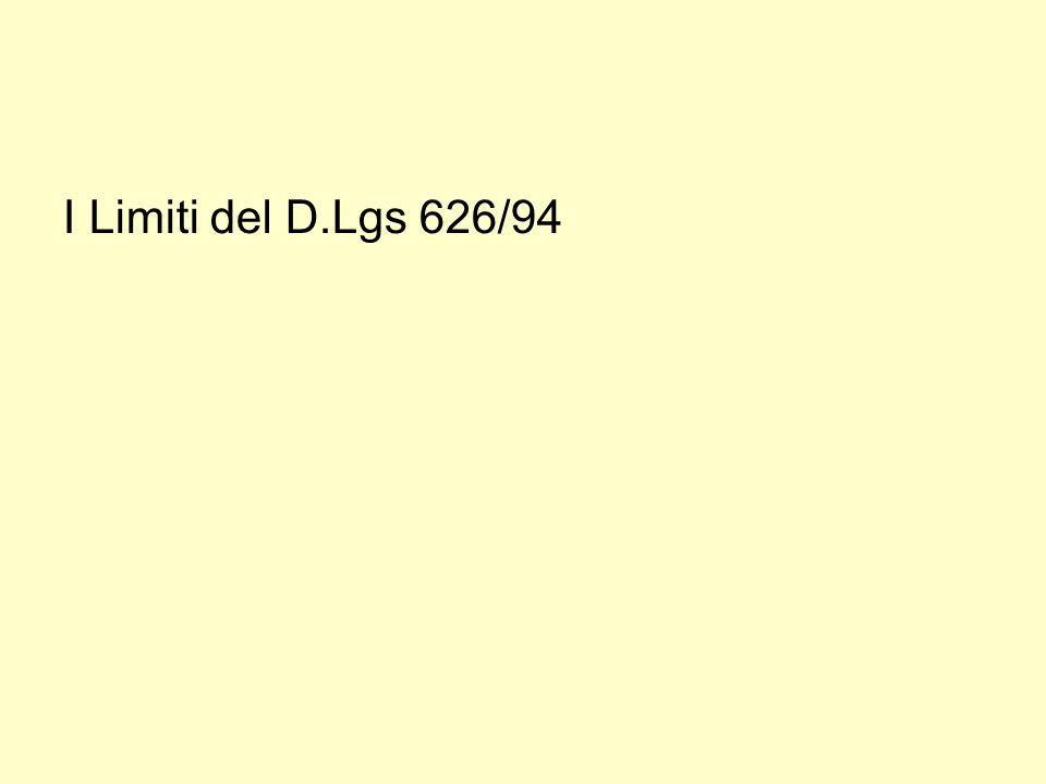 I Limiti del D.Lgs 626/94