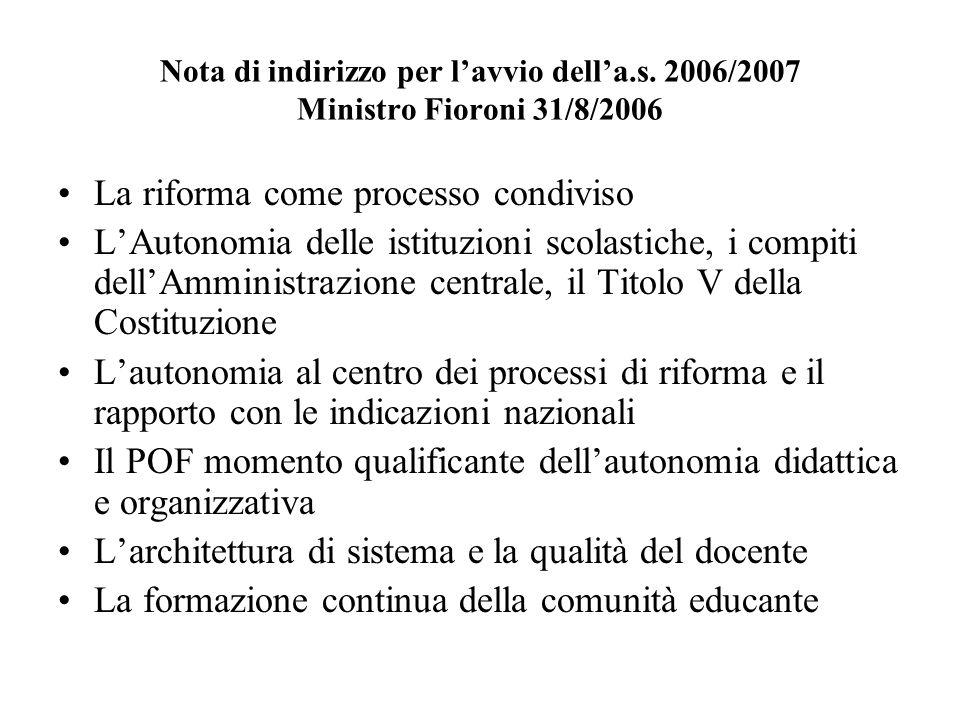 Nota di indirizzo per lavvio della.s. 2006/2007 Ministro Fioroni 31/8/2006 La riforma come processo condiviso LAutonomia delle istituzioni scolastiche