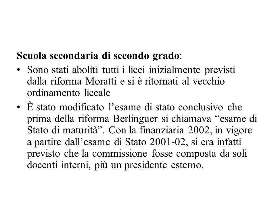 Scuola secondaria di secondo grado: Sono stati aboliti tutti i licei inizialmente previsti dalla riforma Moratti e si è ritornati al vecchio ordinamen