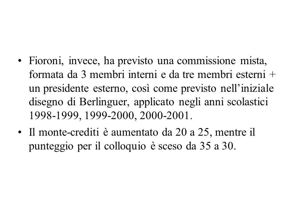 Fioroni, invece, ha previsto una commissione mista, formata da 3 membri interni e da tre membri esterni + un presidente esterno, così come previsto nelliniziale disegno di Berlinguer, applicato negli anni scolastici 1998-1999, 1999-2000, 2000-2001.