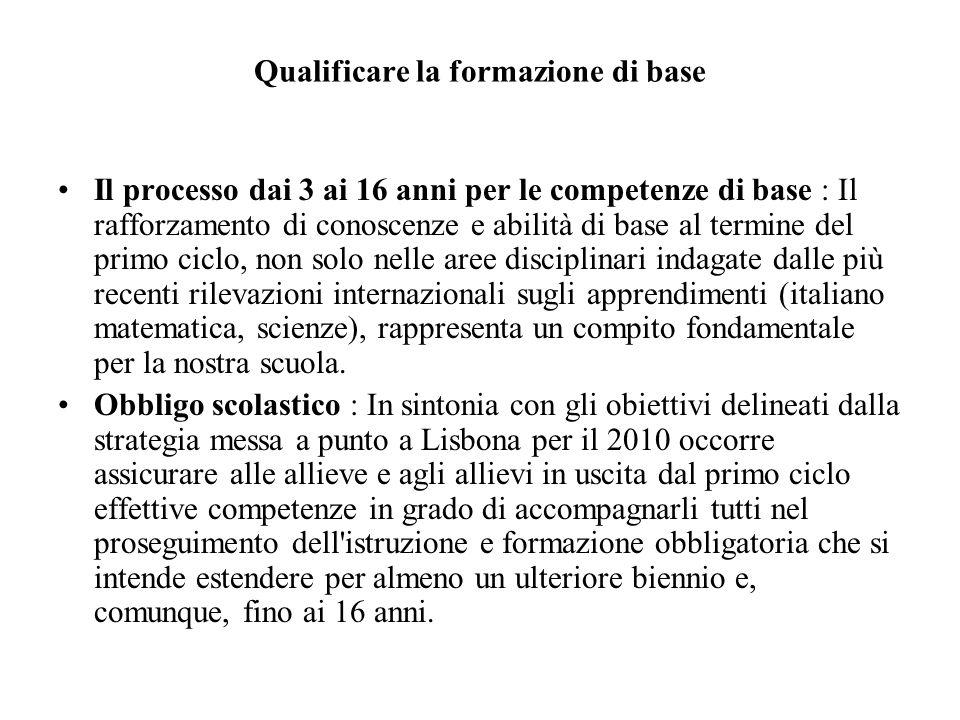 Qualificare la formazione di base Il processo dai 3 ai 16 anni per le competenze di base : Il rafforzamento di conoscenze e abilità di base al termine