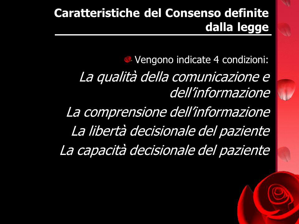 Caratteristiche del Consenso definite dalla legge Vengono indicate 4 condizioni: La qualità della comunicazione e dellinformazione La comprensione del