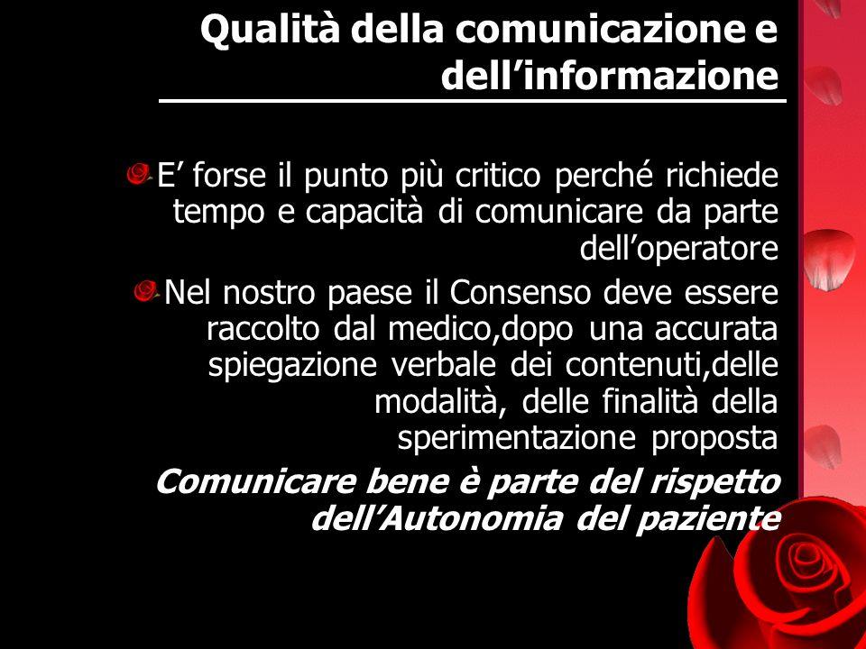 Qualità della comunicazione e dellinformazione E forse il punto più critico perché richiede tempo e capacità di comunicare da parte delloperatore Nel