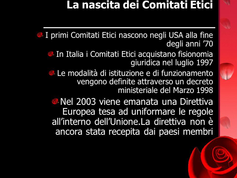 La nascita dei Comitati Etici I primi Comitati Etici nascono negli USA alla fine degli anni 70 In Italia i Comitati Etici acquistano fisionomia giurid