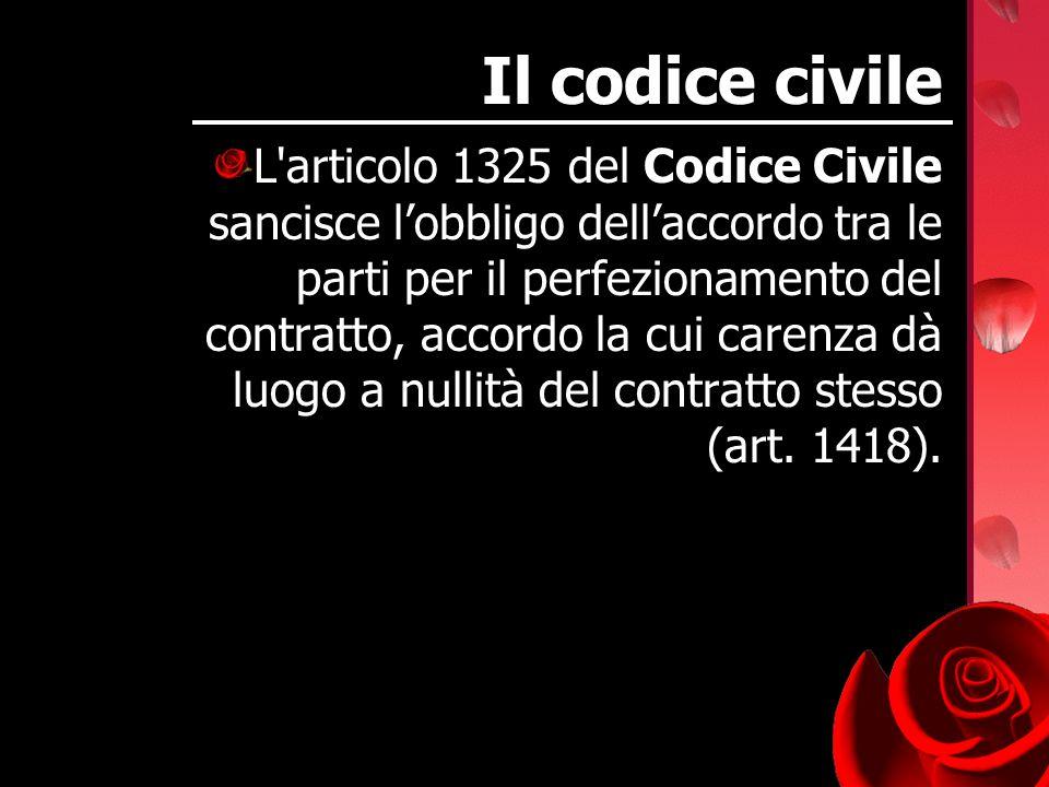Il codice civile L'articolo 1325 del Codice Civile sancisce lobbligo dellaccordo tra le parti per il perfezionamento del contratto, accordo la cui car