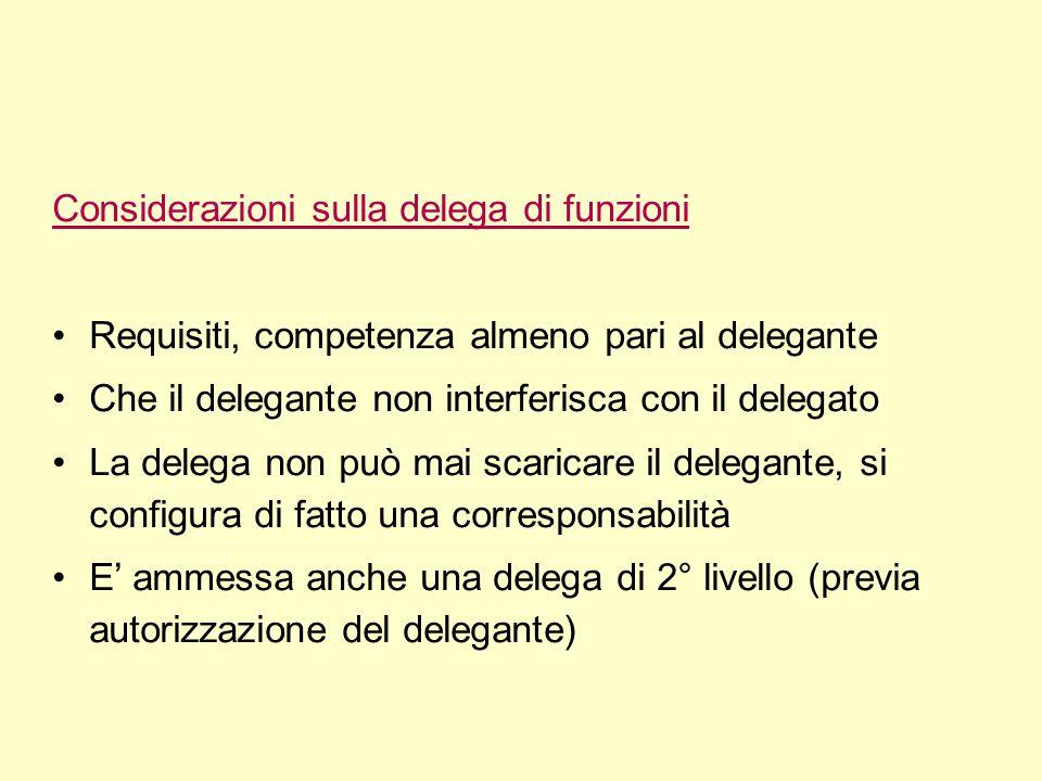Considerazioni sulla delega di funzioni Requisiti, competenza almeno pari al delegante Che il delegante non interferisca con il delegato La delega non