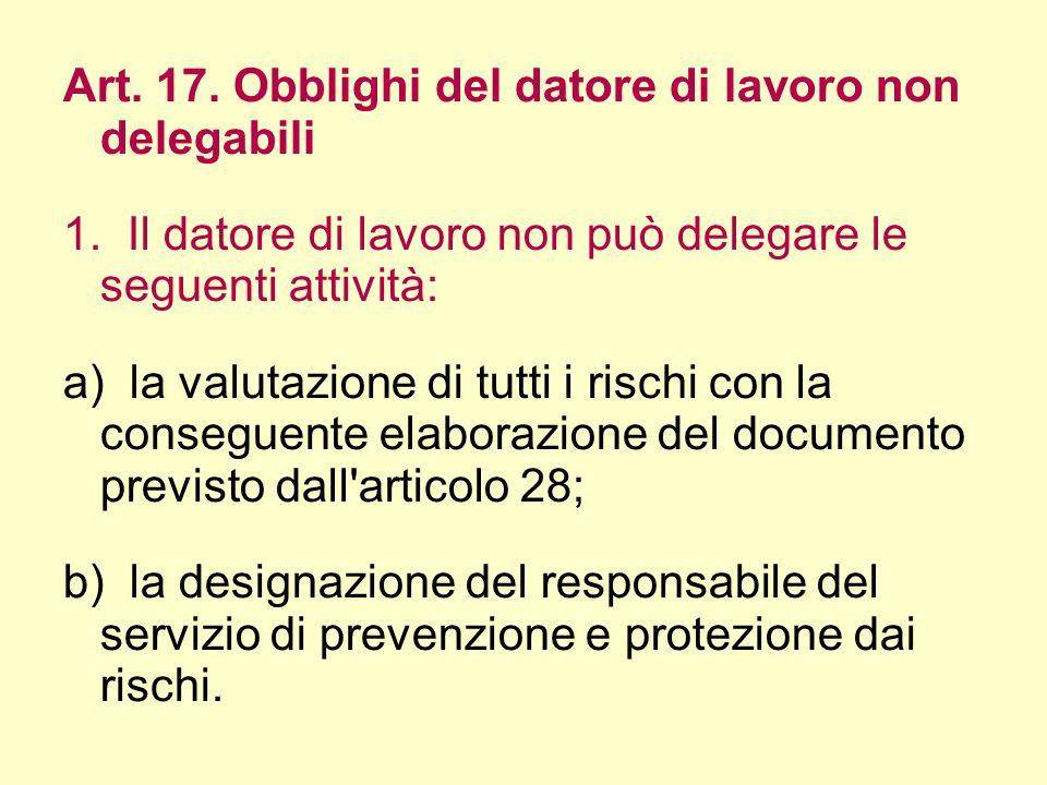 Art. 17. Obblighi del datore di lavoro non delegabili 1. Il datore di lavoro non può delegare le seguenti attività: a) la valutazione di tutti i risch