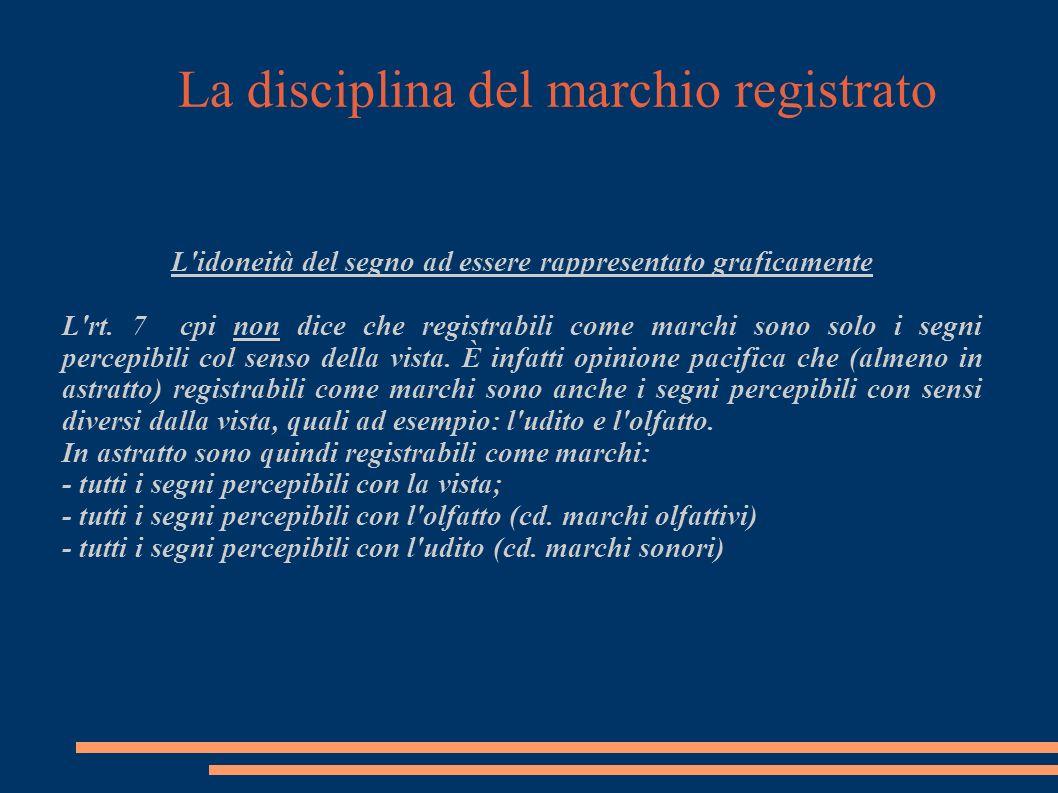 La disciplina del marchio registrato L idoneità del segno ad essere rappresentato graficamente L rt.