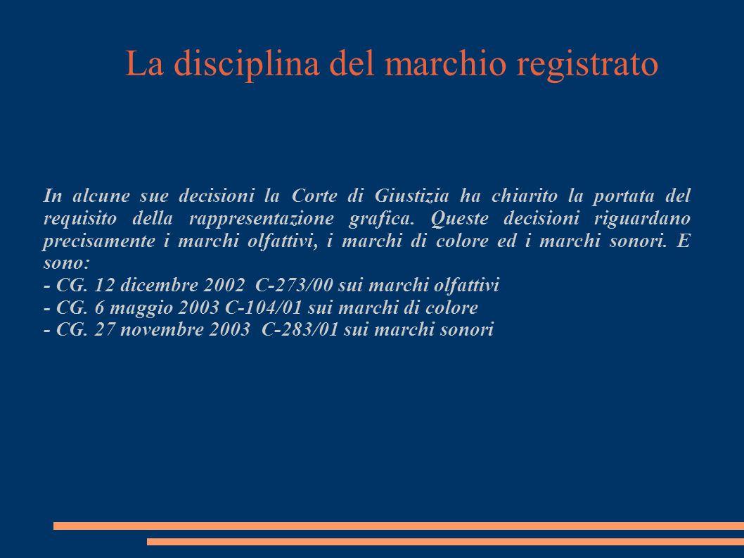 La disciplina del marchio registrato In alcune sue decisioni la Corte di Giustizia ha chiarito la portata del requisito della rappresentazione grafica.