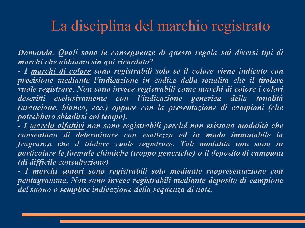 La disciplina del marchio registrato Domanda.