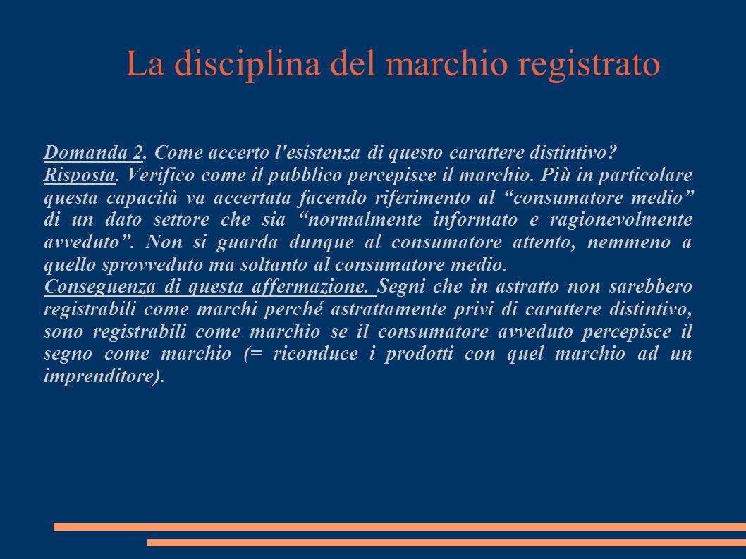 La disciplina del marchio registrato Domanda 2.