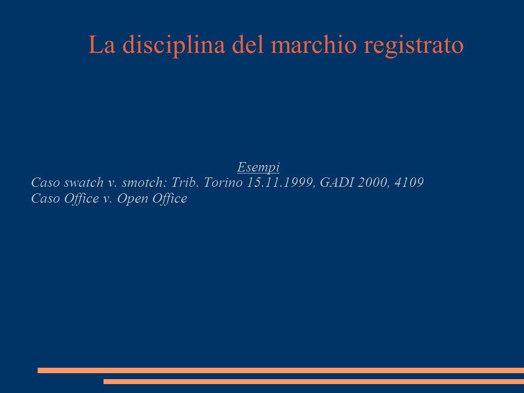 La disciplina del marchio registrato Esempi Caso swatch v.