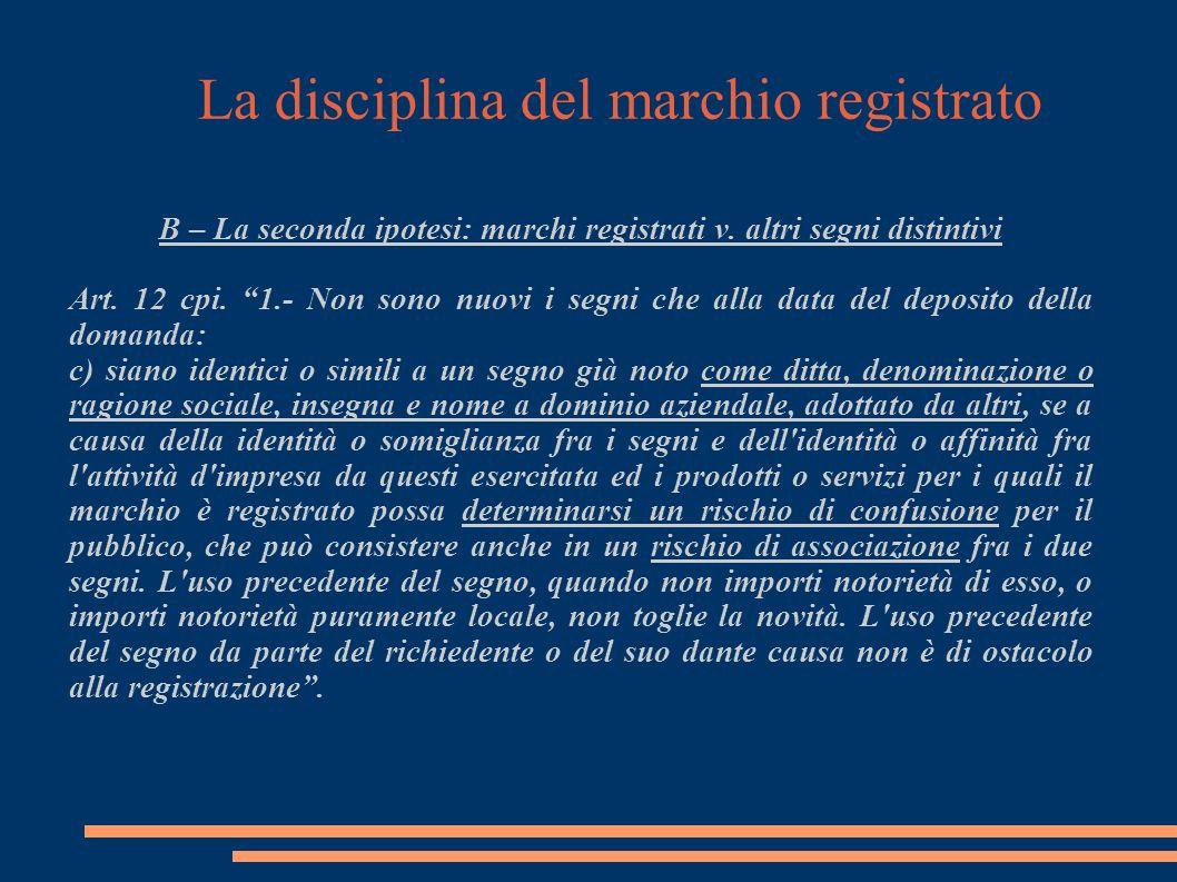 La disciplina del marchio registrato B – La seconda ipotesi: marchi registrati v.