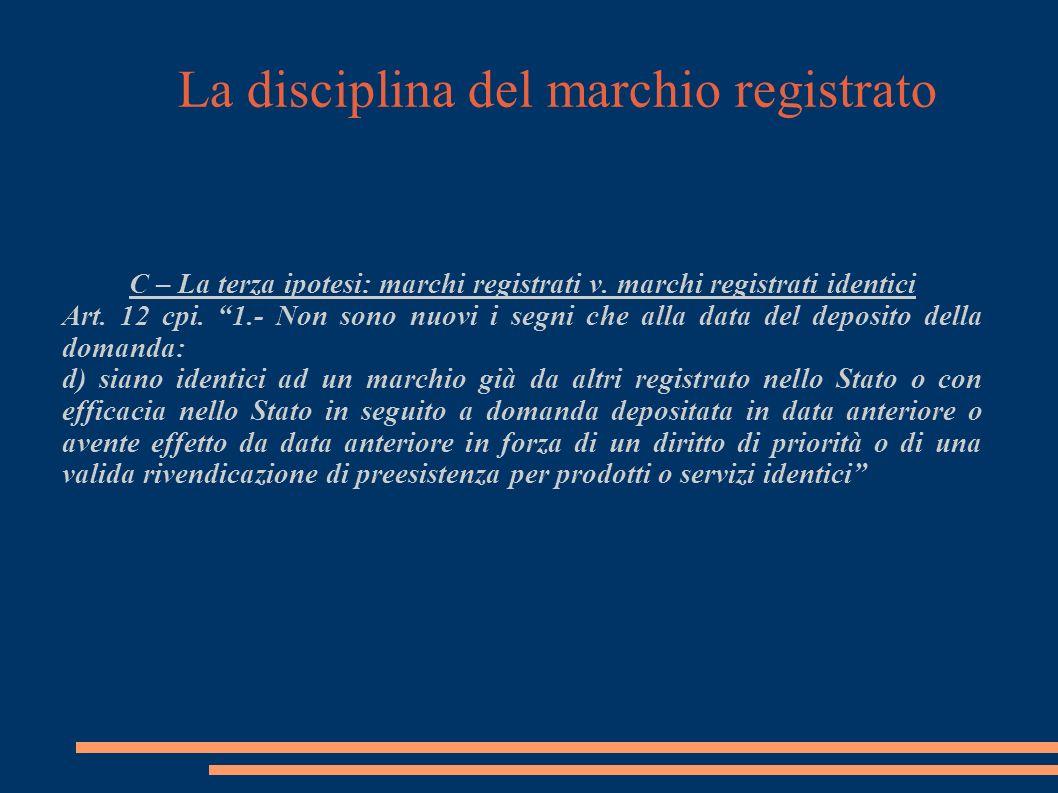 La disciplina del marchio registrato C – La terza ipotesi: marchi registrati v.