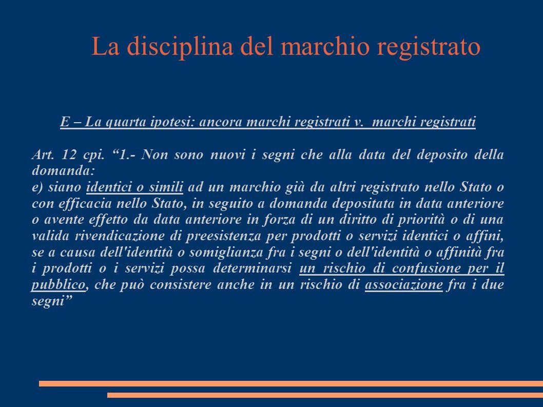 La disciplina del marchio registrato E – La quarta ipotesi: ancora marchi registrati v.
