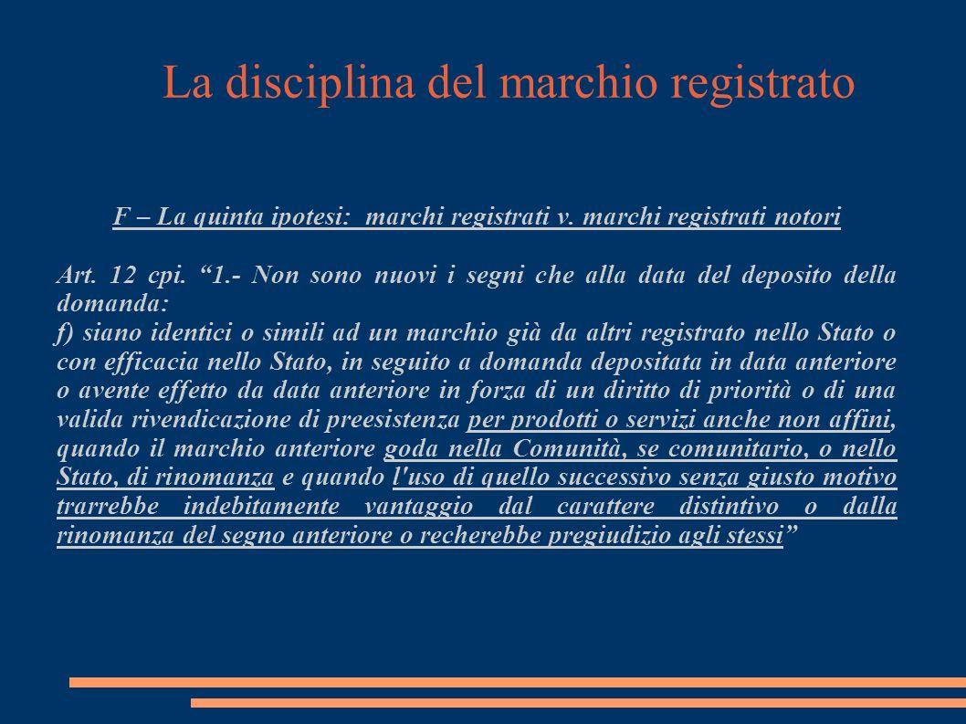 La disciplina del marchio registrato F – La quinta ipotesi: marchi registrati v.
