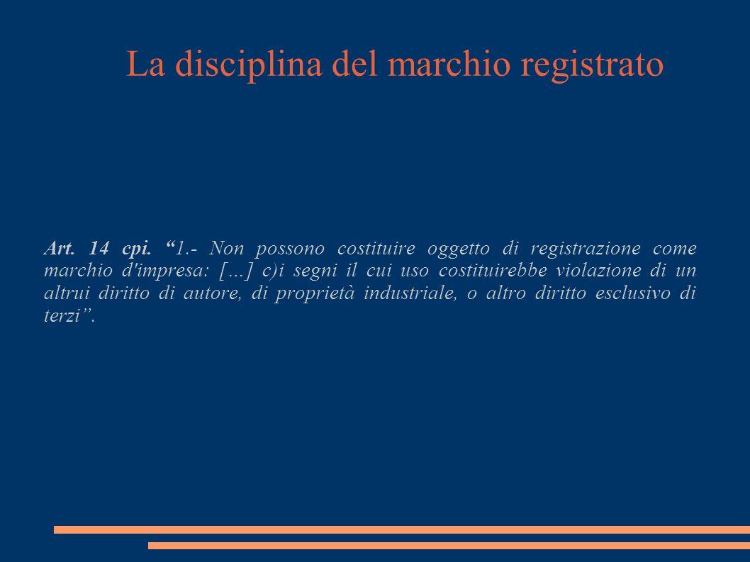 La disciplina del marchio registrato Art. 14 cpi.