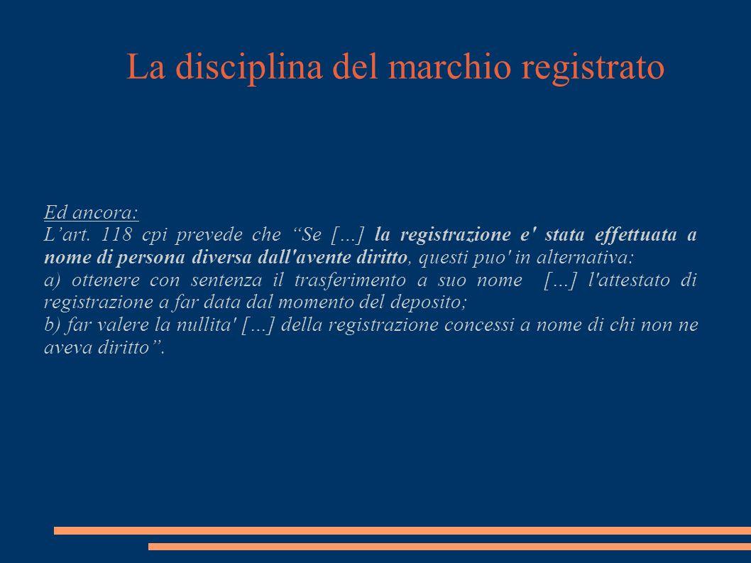 La disciplina del marchio registrato Ed ancora: Lart.