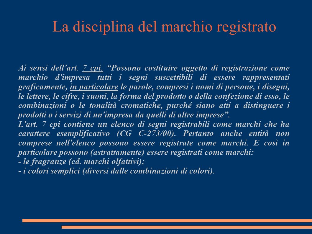 La disciplina del marchio registrato I requisiti previsti dall art.