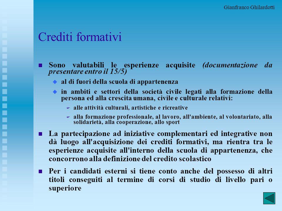 Gianfranco Ghilardotti 20 Certificazioni n Il diploma indicherà i seguenti elementi necessari al riconoscimento del titolo nell'ambito dell'Unione Eur