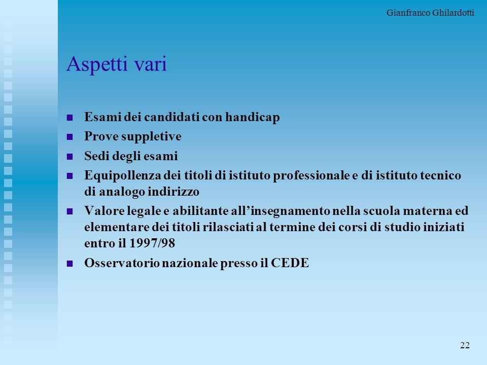 Gianfranco Ghilardotti 21 Crediti formativi n Sono valutabili le esperienze acquisite (documentazione da presentare entro il 15/5) u al di fuori della
