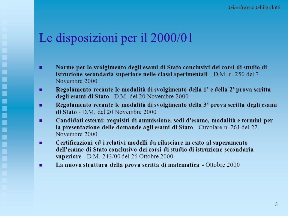 Gianfranco Ghilardotti 3 Le disposizioni per il 2000/01 n Norme per lo svolgimento degli esami di Stato conclusivi dei corsi di studio di istruzione secondaria superiore nelle classi sperimentali - D.M.