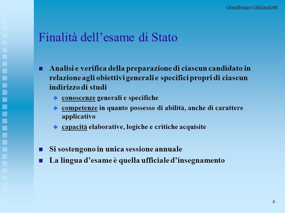 Gianfranco Ghilardotti 3 Le disposizioni per il 2000/01 n Norme per lo svolgimento degli esami di Stato conclusivi dei corsi di studio di istruzione s