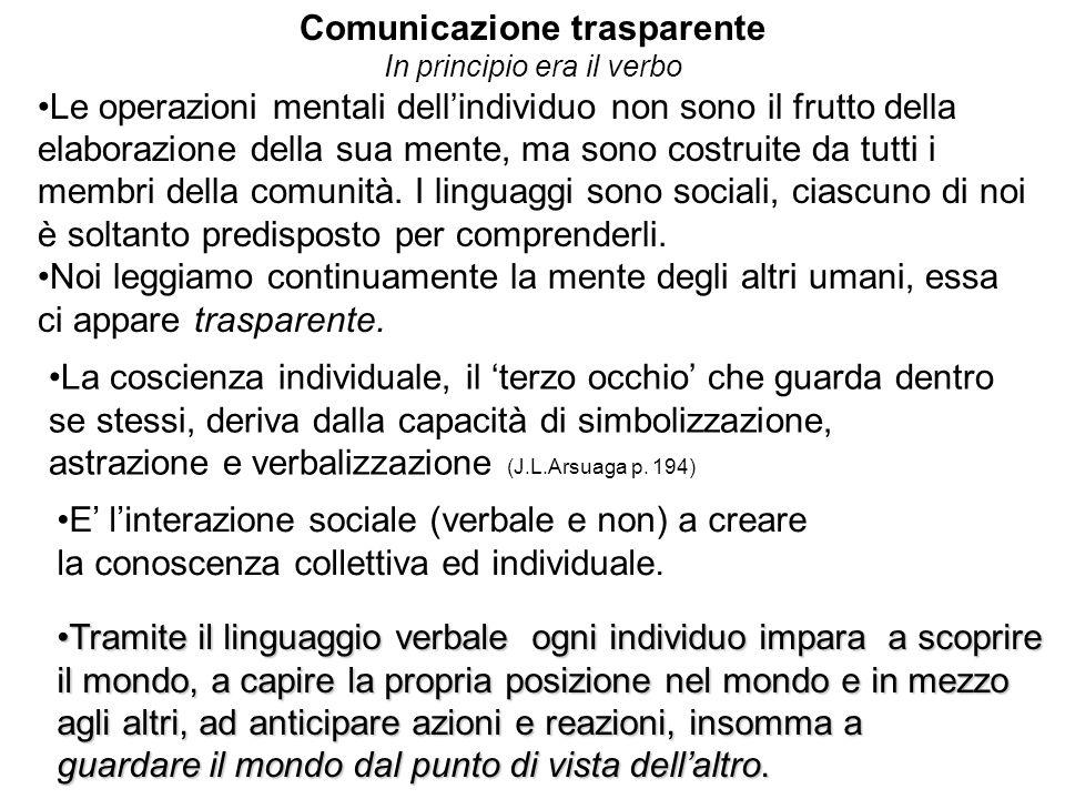 Comunicazione trasparente In principio era il verbo Le operazioni mentali dellindividuo non sono il frutto della elaborazione della sua mente, ma sono costruite da tutti i membri della comunità.