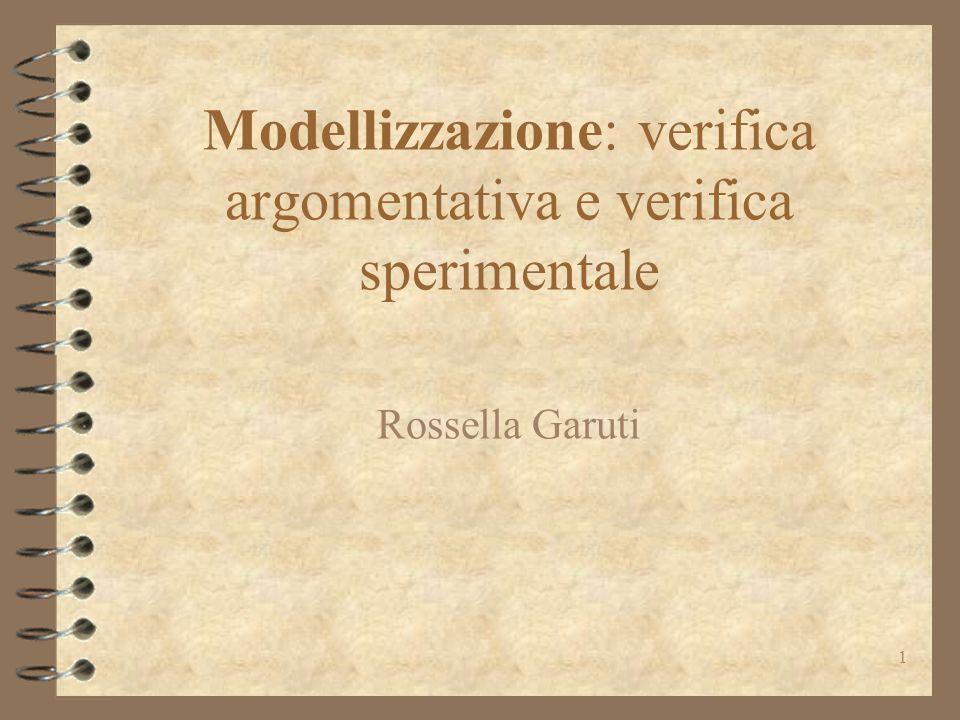 1 Modellizzazione: verifica argomentativa e verifica sperimentale Rossella Garuti