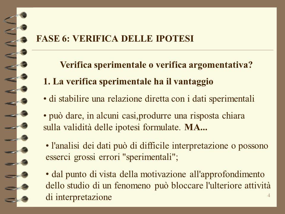 4 FASE 6: VERIFICA DELLE IPOTESI Verifica sperimentale o verifica argomentativa? 1. La verifica sperimentale ha il vantaggio di stabilire una relazion