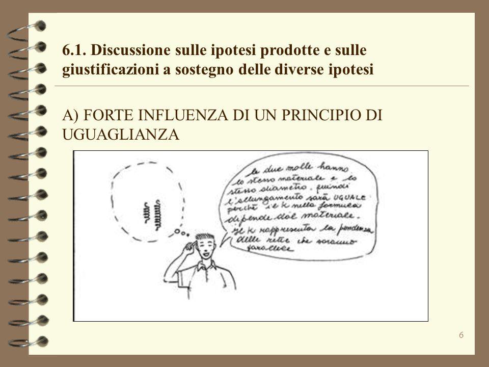 6 6.1. Discussione sulle ipotesi prodotte e sulle giustificazioni a sostegno delle diverse ipotesi A) FORTE INFLUENZA DI UN PRINCIPIO DI UGUAGLIANZA