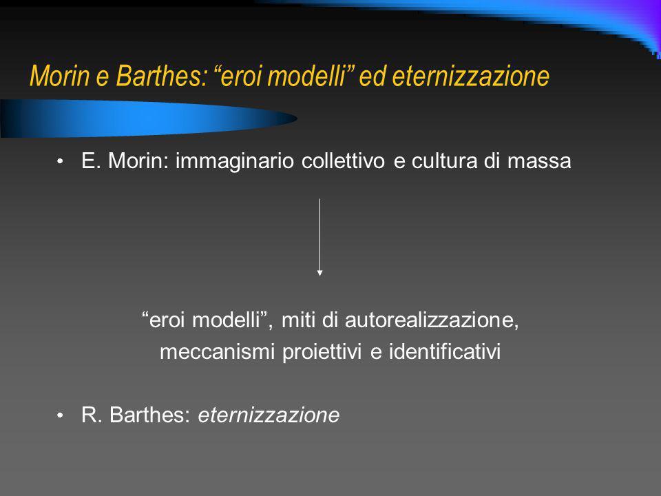 Morin e Barthes: eroi modelli ed eternizzazione E. Morin: immaginario collettivo e cultura di massa eroi modelli, miti di autorealizzazione, meccanism