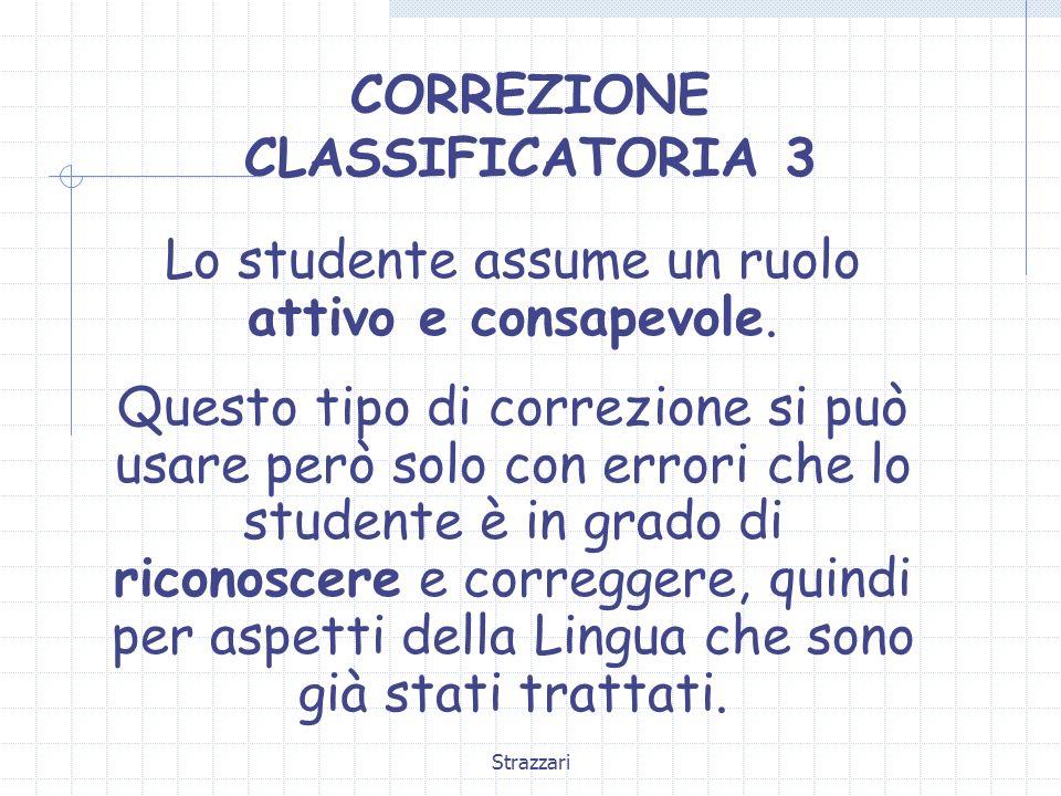 Strazzari CORREZIONE CLASSIFICATORIA 3 Lo studente assume un ruolo attivo e consapevole. Questo tipo di correzione si può usare però solo con errori c