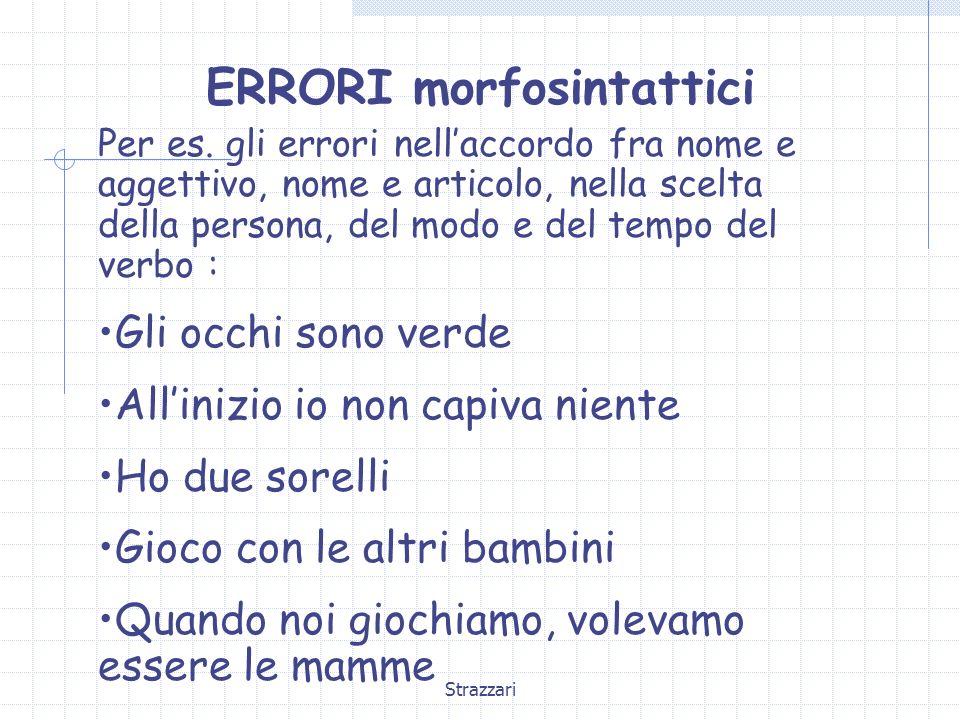 Strazzari ERRORI morfosintattici Per es. gli errori nellaccordo fra nome e aggettivo, nome e articolo, nella scelta della persona, del modo e del temp